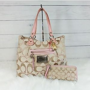 Coach Poppy Signature Lurex Glam Tote and Wallet